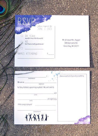 Rappel Wedding RSVP postcards with blue watercolors, fill