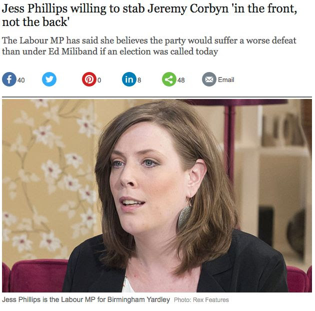Image result for jess phillips stab corbyn