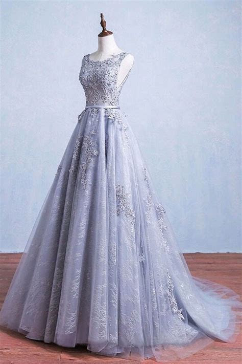 Princess Prom Dresses,Long Gray Lace Tulle Elegant Prom