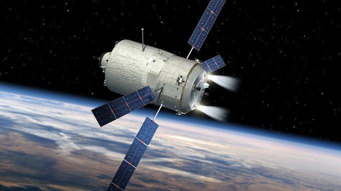 "Computergrafik des europäischen Raumtransporters ATV-5 ""Georges Lemaitre""."