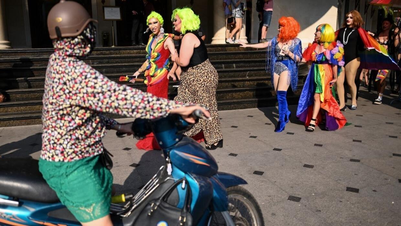 Cuộc diễu hành Hanoi Pride 2019 nhằm vận động cho việc bảo vệ quyền của giới đồng tính tại Việt Nam. Ảnh chụp tại Hà Nội ngày 22/09/2019.