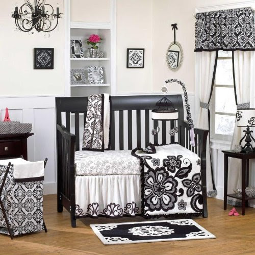 This Lovely Black And White Crib Bedding Set Is Full Of Fun Flowers