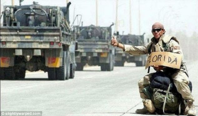 Hitching a lift: This soldier tries to get a ride back home to Florida from the frontline