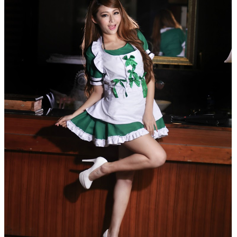 TOP !!  Women Exotic Apparel french maid costume green lingerie sexy toys japanese kimono nightwear erotic