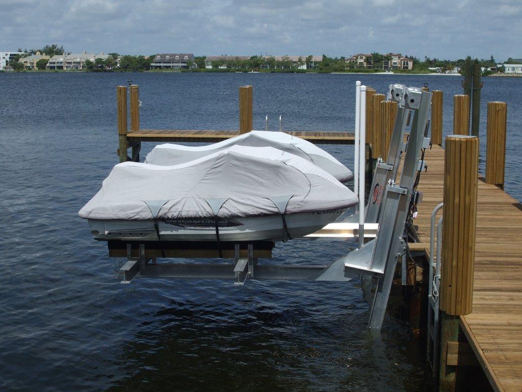 Tropical Wood Dock, Double Jet Ski Lift & 16,000# Cradle Boatlift in