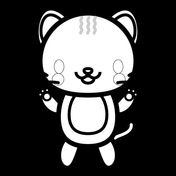塗り絵に最適な白黒でかわいい猫の無料イラスト商用フリー オイデ43