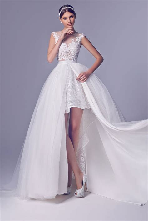 Short Wedding Dress With Long Detachable Train High Low
