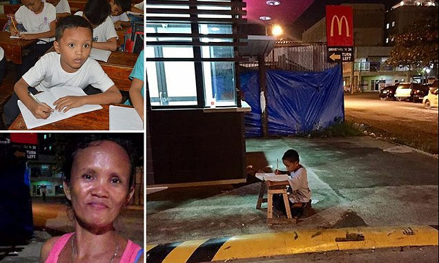 Story of Filipino homeless boy who does his homework outside McDonald's