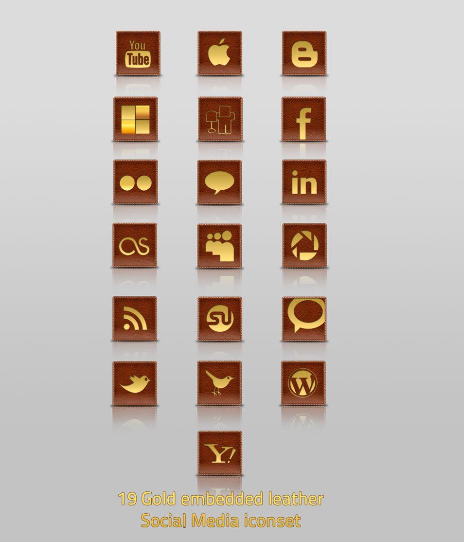 19 Gold Embedded Leather Social Media Iconset