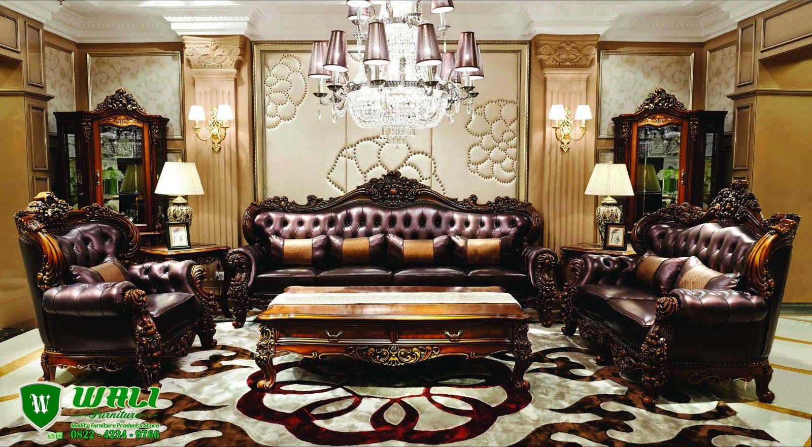 Kursi Tamu Sofa Jati Mewah Ukir Jepara Warna Coklat Wali Furniture