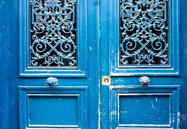 Paris Photography - Blue Doors in Paris, France 8x10 Photograph - French Home Decor - Monaco Blue