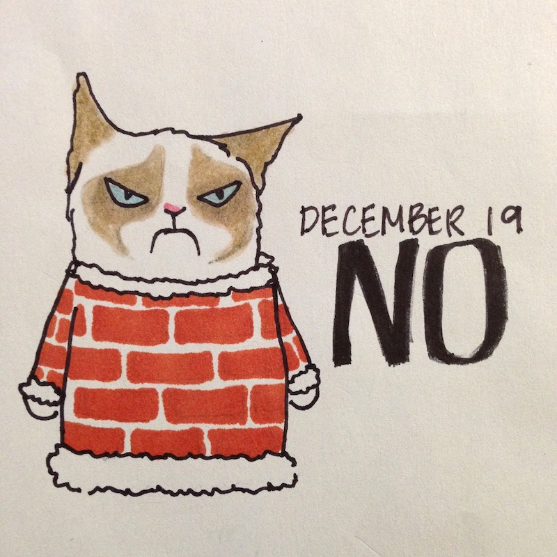 Grumpy Cat in Holiday Sweater, Christmas, Chimney