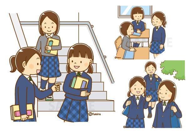 クリップアート女子中学生のイラスト教室移動友達と話す登校する