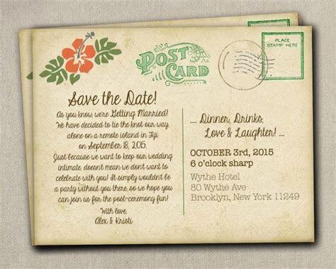 Rustic postcard Beach Destination Reception Wedding Save