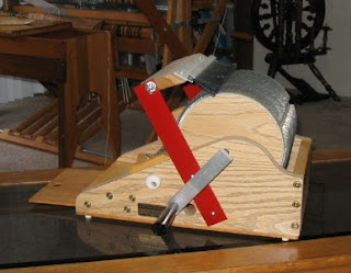 Fricke Petite drum carder with brush attachment.