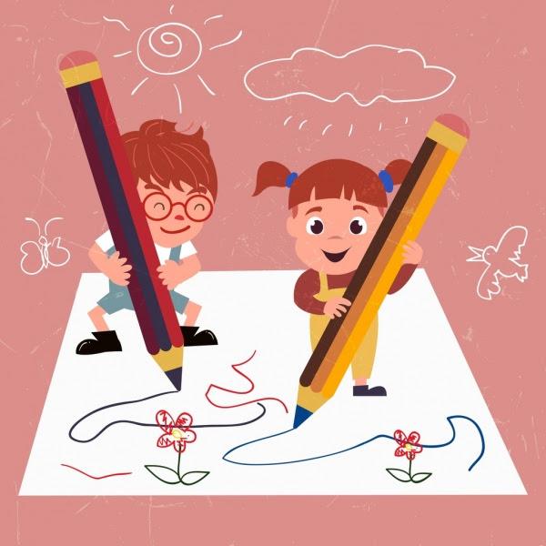 Menulis Anak Anak Lucu Gambar Sketsa Pensil Handdrawn Baris Orang