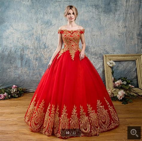 Gorgeous Red Wedding Dresses Ball Gowns 2017 Gold Applique