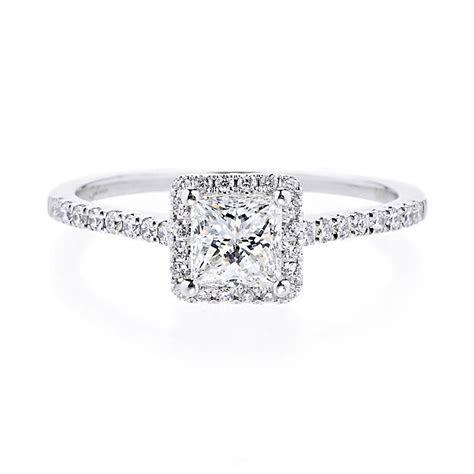 Princess Cut Halo Engagement Rings Matching Bands 38