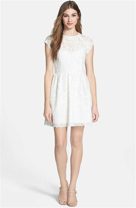 Embroidered little white fit and flare dress, so sweet