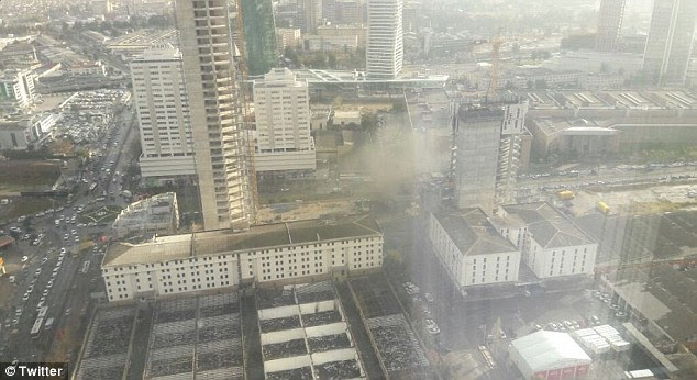 Eyewitnesses said the explosion appeared to come from a vehicle while pictures on social media show a cloud of smoke rising up from the street