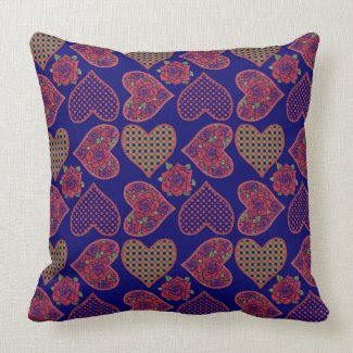 Chic Pillow or Cushion, Hearts, Roses, Deep Blue