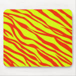 Cherry Red And Neon Yellow Zebra Striped Mouse Pad