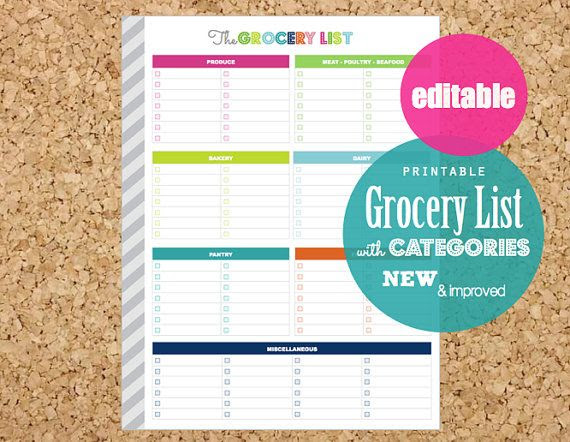 EDITABLE Grocery List, Printable Planner, Letter Size + A5 ...