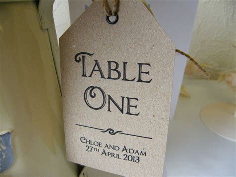 Wedding Table Number Name Personalised Tags Vintage Brown