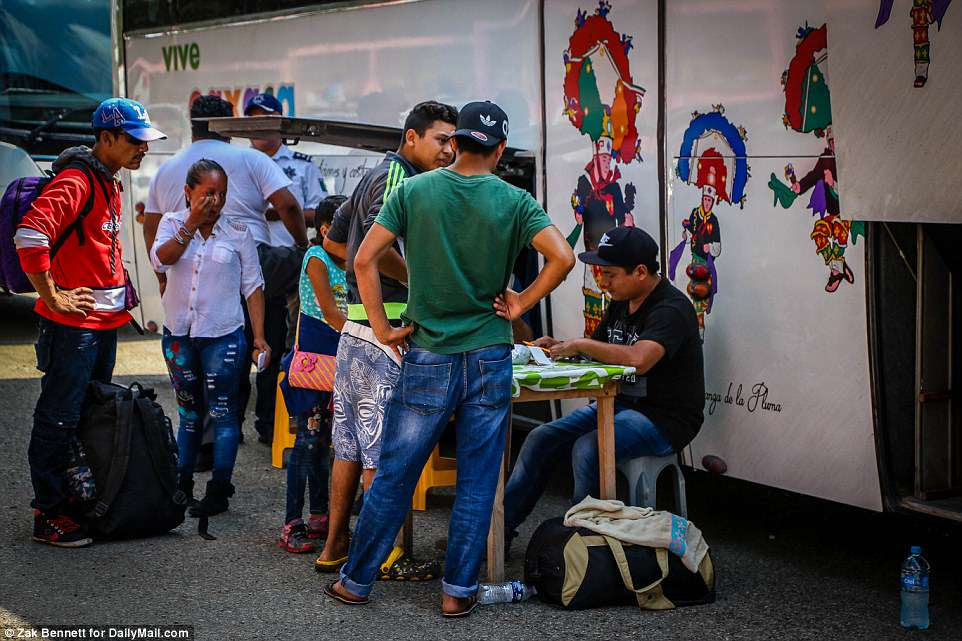 Coach buses can typically carry approximately 50 people, so it will likely take many trips to take the migrants from Matiøas Romero, Oaxaca, Mexico, to Mexico City or Puebla