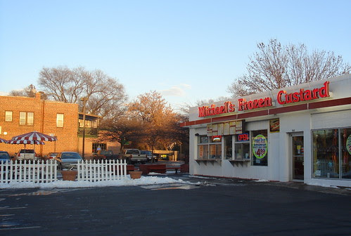 Frozen custard stand in winter