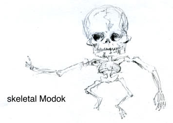 sketch of the skeleton of Modok aka M.O.D.O.K. aka The Mental Organism Designed Only for Killing