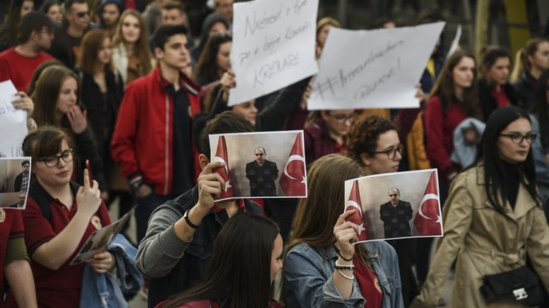 File Photo: Mehmet Akif College students, holding banners and pictures of their teachers, protest the arrest and detention of Turkish citizens by Kosovo authorities, Pristina, Kosovo, 29 March 2018. EPA, PETRIT PRENAJ