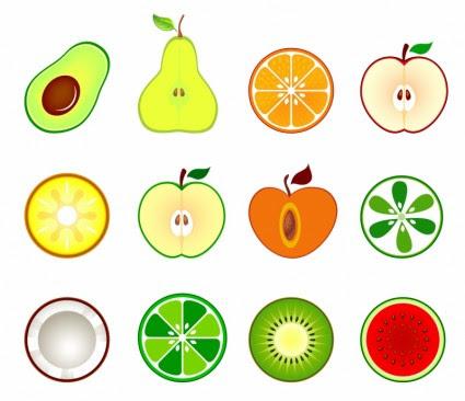 Yarıya Meyve Vektör Simgesi Bedava Vektör ücretsiz Indir