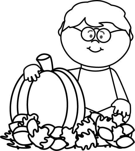 Black And White Boy Sitting In Leaves With Pumpkin Clip Art Black