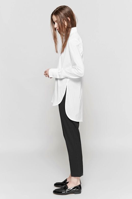 Le Fashion Blog Workwear Long Funnel Neck Side Split Shirt Black Tuxedo Pants Patent Leather Loafers Via My Chameleon