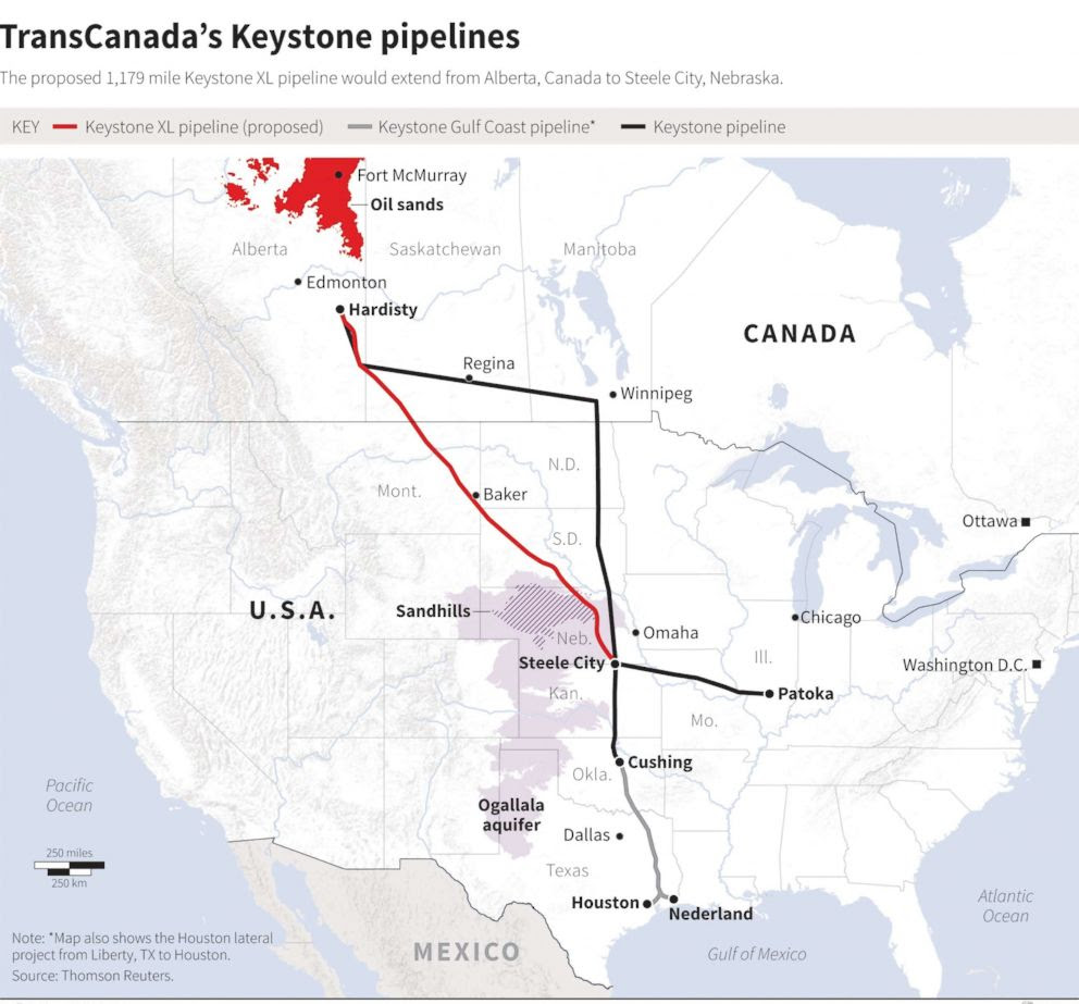 PHOTO: A Reuters map released in 2014 shows the proposed route of TransCanadas Keystone pipelines.