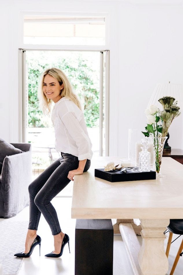 Le Fashion Blog Australian Blogger Brooke Testoni Bright Minimal Home Dining Table Black Patent Pumps White Shirt Dark Grey Skinny Jeans