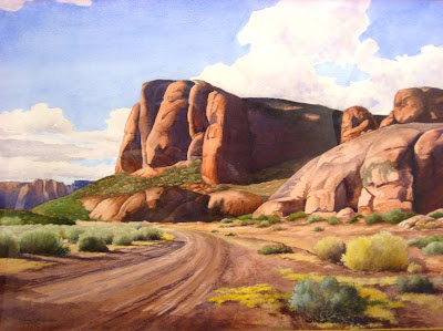 Robert Shepherd Painting of Paradise Canyon in Southern Utah near St. George in personal art collection of Roland L. Lee