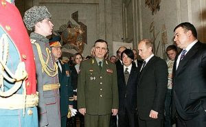 Photo: Putin inspecting models of the new Russian Armed Forces uniforms. With Defence Minister Anatoly Serdyukov. Source: Kremlin