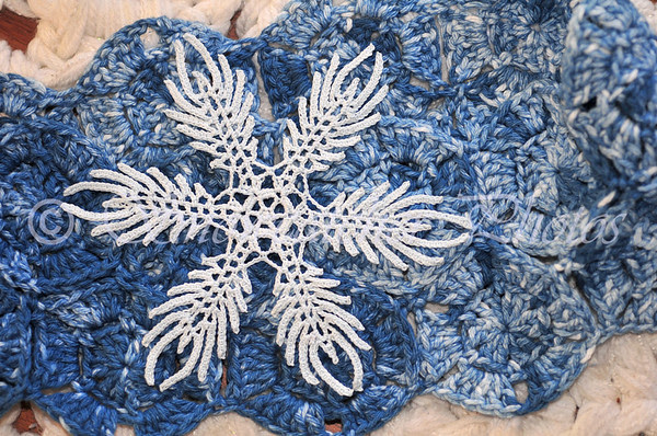 Indigo Ice Snowflake and Ice Wash Snowflake Cowl