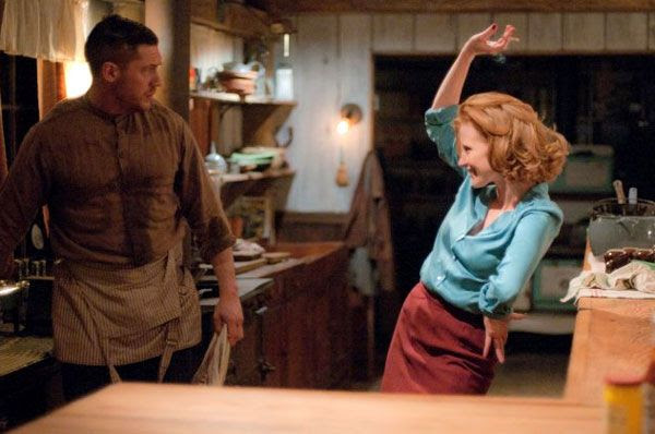 Tom Hardy as Forrest Bondurant and Jessica Chastain as Maggie Beauford in LAWLESS.