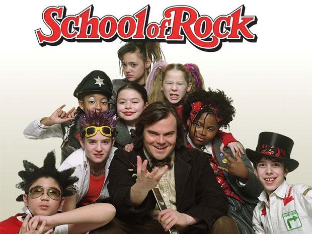 Jack Black e parte do elenco infantil de 'Escola de rock' (Foto: Divulgação)