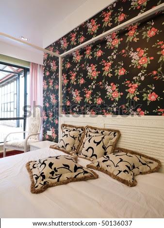 Bedroom Interior With Beautiful Wallpaper Stock Photo 5
