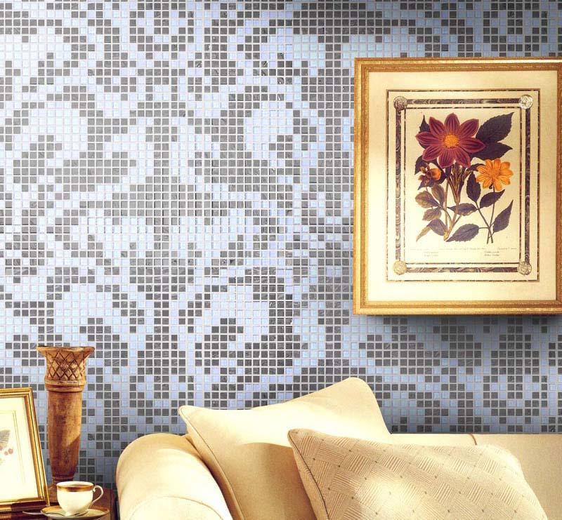 Crystal Mosaic Tile Patterns 20x20mm Silver Glass Tile Backsplash 2131