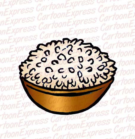 vector cartoon illustration of a bowl of rice