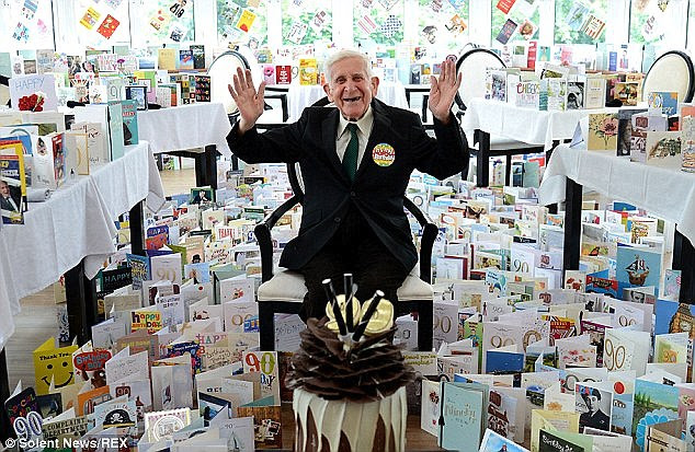 Popular: After returning back from Normandy, Mr Jordan was  inundated with 2,500 cards from wellwishers around the world to mark his 90th birthday