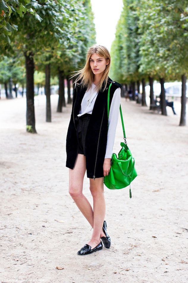 Le Fashion Blog Madelen De La Motte Model Street Style Bright Green Satchel Bag Moto Vest High Waisted Shorts Patent Loafers photo Le-Fashion-Blog-Madelen-De-La-Motte-Model-Street-Style-Bright-Green-Satchel-Bag-Moto-Vest-High-Waisted-Shorts-Patent-Loafers.jpg