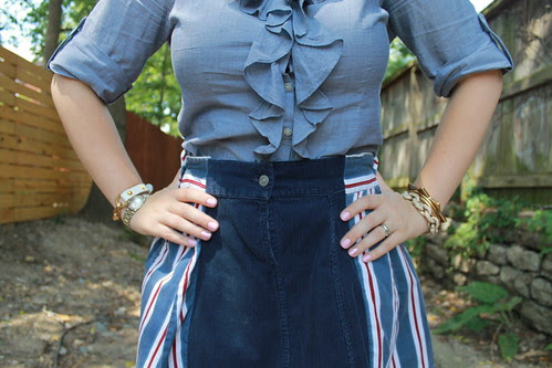 July 3rd Outfit: DIY skirt made from men's shirt sleeves, eyelet oxfords, ruffle chambray shirt, herringbone braid
