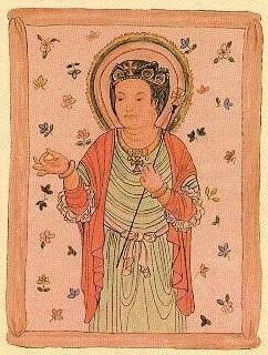 évêque de l'Église d'Orient missionnaire en Inde, peinture sur soie trouvée par sir Aurel Stein dans une cave à Tun-Huang, sud-ouest de la Chine, cave qui avait été scellée en 1036. Se trouve à présent au British Museum