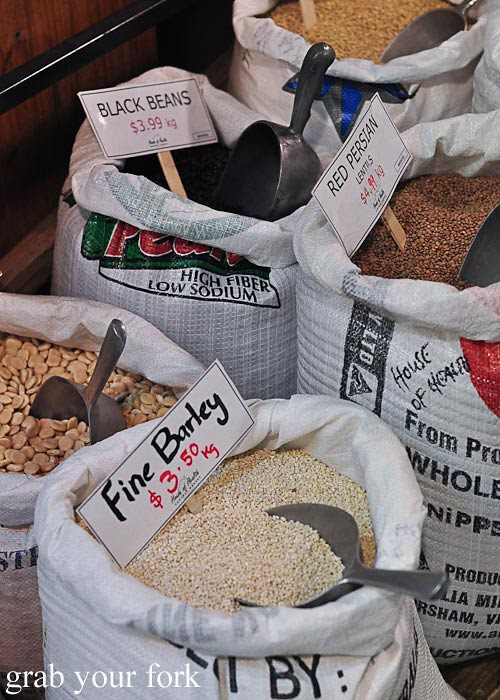 barley, black beans, red persian lentils